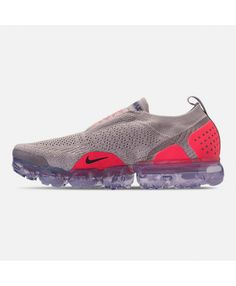 huge discount 67363 f719b Left view of Men s Nike Air VaporMax Flyknit MOC 2 Running Shoes in Moon  Particle Solar Red Indigo