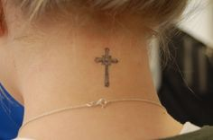 religious cross female neck tattoo #neck #tattoo #women #female