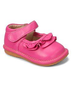 Look at this #zulilyfind! Hot Pink Ruffle Squeaker Mary Jane #zulilyfinds