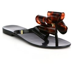 Melissa Harmonic IX Bow Sandals ($78) ❤ liked on Polyvore featuring shoes, sandals, apparel & accessories, polish shoes, melissa shoes, slip-on shoes, shiny shoes and bow thong sandals