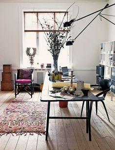 The office of Danish designer Marianne Brandi. Via Elle Decor España