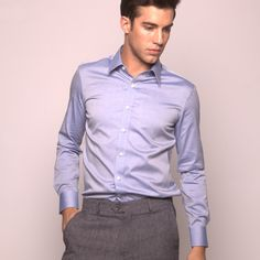 This blue one of the most popular dress shirt colors after white.  Custom dress shirt by Michelozzo. http://www.michelozzo.com