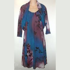 Aryeh Boutique Jewel-Tone Blue & Purple Floral Dress and Jacket