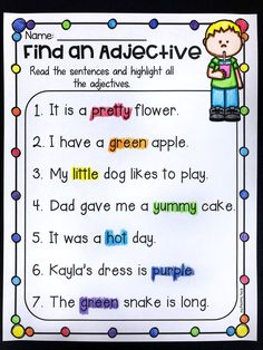 Find an adjective worksheet.