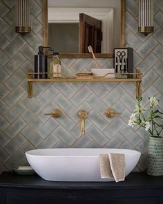 Vessel sink and gold grout