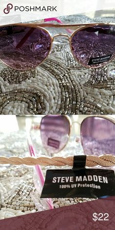 NWT STEVE MADDEN PINK AND GOLD SUNGLASSES Brand New Steve Madden 100% UV Protection Sunglasses with Pink Tint and a stunning Rose Gold Colored Metal. Steve Madden Accessories Sunglasses