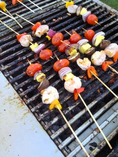 From Sidecar Global Catering in Columbus, Ohio - Shrimp and Vegetable skewers on the grill