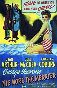 1943:  Jean Arthur, Joel McCrea and Charles Coburn in The More the Merrier
