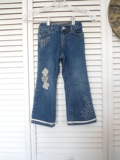 Hippie Lace Jeans Size 4T Girls Upcycled Lace by LandofBridget