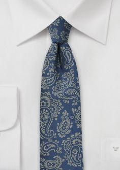 Krawatte Paisley-Muster royalblau