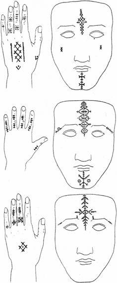 Peinture au ḥarqūs sur le visage et les mains (d'après J. Herbert).