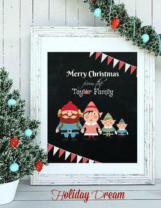 Custom Chalkboard Holiday Family Sign Custom by HolidayDream
