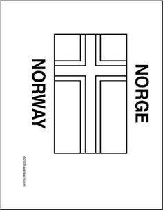 Flag: Norway - Blackline illustration of the Norwegian flag. Norwegian Flag, Flag Quilt, Word Puzzles, New Teachers, Kids Crafts, Flags, Norway, Blessed, Quilting