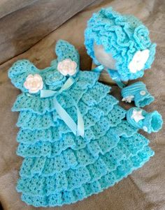 Free Crochet Baby Dress Patterns | Free Crochet Baby Christmas Dress | Baby Holiday Dress, Hat and ...