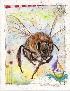 'To Bee or not to be?' Watercolour and Ink-Pen, 16 x 21 cm