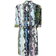 Versace Mix Print Shirt Dress ($1,213) ❤ liked on Polyvore featuring dresses, multicolour, t-shirt dresses, print dress, collared shirt dress, short dresses and multi-color dress