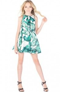Miss behave green floral leave print. Tween Fashion, Tween Girls dresses