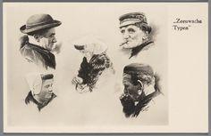 Zeeuwsche typen. Tekening van drie mannen en twee vrouwen in verschillende Zeeuwse streekdrachten. na 1905 #Zeeland #Walcheren #Arnemuiden