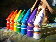 Days of the Week Rainbow Gnomes Waldorf Inspired calendar set storytelling.
