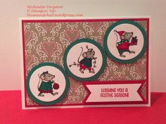 Merry Christmas card. So cute. Use Stampin' Up! Cherry Cobbler, Garden Green, Crumb Cake, Merry Mice and Candy Cane Lane, Layering Circles Framelits.