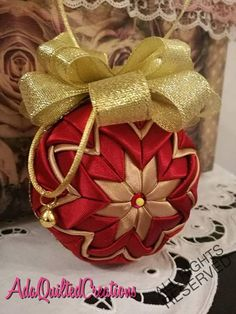 Christmas ball ornament satin quilted ball ornament