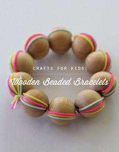 Easy wooden beaded bracelet craft for kids. (Or uh...us.)