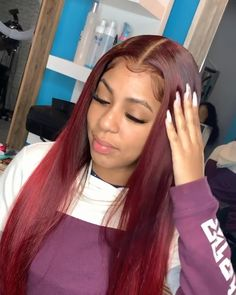 Thriving Hair Customize Glueless Virgin Human Hair T Red Stright Lace Front Wigs Red Lace Front Wig, Straight Lace Front Wigs, Maroon Hair, Burgundy Hair, Haircuts For Fine Hair, Straight Hairstyles, Red Weave Hairstyles, Long Thin Hair, Short Hair