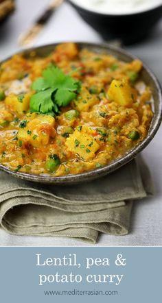 Lentil, pea and potato curry Lentil Recipes, Veg Recipes, Curry Recipes, Indian Food Recipes, Whole Food Recipes, Cooking Recipes, Healthy Recipes, Best Vegan Curry Recipe, Indian Vegetable Recipes