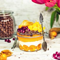 made with coconut yoghurt and mango puree 💛 Topped with rawnola + mango + pomegranate seeds 😍 Breakfast In A Jar, Mango Puree, Pomegranate Seeds, Panna Cotta, Coconut, Homemade, Ethnic Recipes, Food, Dulce De Leche