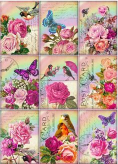 9 ROSE BUTTERFLY - BIRD FLOWER VINTAGE 155 lb SCRAPBOOK PAPER CRAFT CARD TAGS
