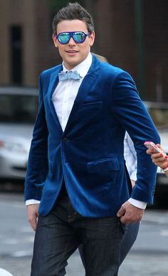 Cory Monteith in a cute and colorful suit