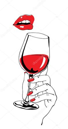 royalty-free Talking red lips and glass of wine holding hand as retro party poster design element stock vector 64965961 from Depositphotos collection of millions of premium high-resolution stock photos, vector images and illustrations. Pencil Art Drawings, Art Drawings Sketches, Simple Illustration, Art Party Foods, Wine Glass Drawing, Art Du Vin, Deco Cinema, Art Party Decorations, Art Party Invitations