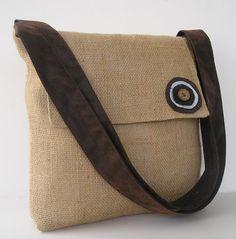 Burlap Messenger Bag 14 (flatter, rectangular body with medium flap)