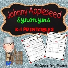 {50% off for 48hrs - new product} Johnny Appleseed - Synonyms - This pack includes fun Johnny Appleseed printables that helps students grasp the concepts of synonyms. The Johnny Appleseed pack includes a total of 20 worksheets: 10 printable worksheets - students cut & paste the words from the boxes to create synonyms for adjectives.These worksheets are good for students who require extra support in literacy and it also helps develop their fine motor skills. 10 printable worksheets - stude...