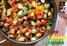 21 DAY FIX FRIENDLY Chicken sausage and Peppers Follow us @ Kosal Fitness on FB for more great fix ideas. http://www.skinnytaste.com/2012/07/summer-vegetables-with-sausage-and.html