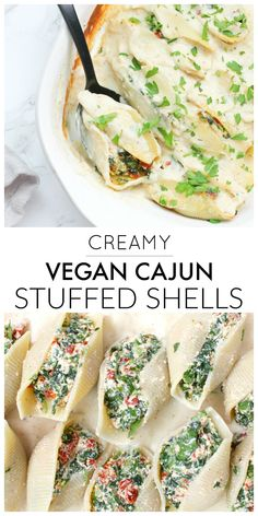 These Creamy Vegan Cajun Stuffed Shells are the ultimate casserole dinner. Lightened up by using cauliflower cream sauce and a tofu ricotta | ThisSavoryVegan.com #thissavoryvegan #vegancasserole