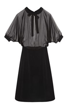 DESIGNER: VALENTINO SEE DETAILS HERE:Light Chiffon Dolman Sleeve Boat Neck Dress