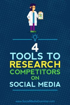 Do you want to learn more about your competitors social media activity?  Looking for tools to help?  Competitive research tools let you see at a glance how your social media marketing compares to similar businesses.  In this article, youll discover fo