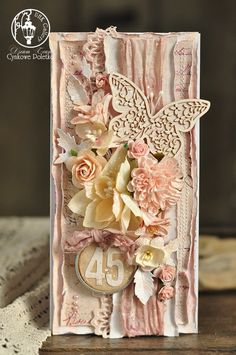 Beautiful card art by cynkowe poletko: rocznicowa kartka Lemon Crafts, Shabby Chic Cards, Step Cards, Butterfly Crafts, Beautiful Handmade Cards, Mothers Day Cards, Pretty Cards, Card Tags, Flower Cards