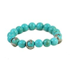 "VS Alicante Turquoise Swirl stretch bracelet Sterling Silver plated hammered swirls 10mm Turquoise beads 2 ½"" diameter"
