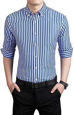 Yutongyuxuan Sale Full Casual Shirts 2017 New Arrival Mens Long Sleeve Striped Fashion Business Slim Fit Cotton Long Sleeve Shirt Dress, Long Sleeve Shirts, Sleeved Dress, Blue Striped Shirt Outfit, Fashion Business, Stripped Shirt, Suit Up, Simple Shirts, Casual Shirts