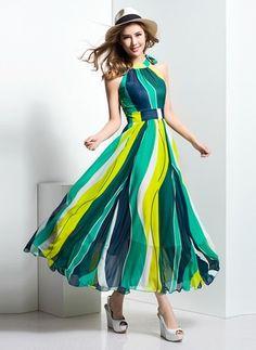 (Cores do Brasil) Listra Sem mangas Longo Informal Vestidos de (1012937) @ floryday.com
