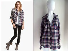 """WE THE FREE PEOPLE ~~COOL BOYFRIEND CHIC~~ PLAID """"CHAMBRAY TRIM"""" SHIRT TOP $98 L #FreePeople #ButtonDownShirt #Casual"""