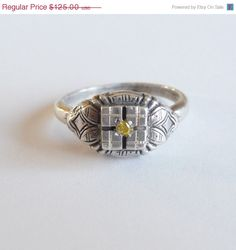 Yellow Canary Diamond Ring Sterling Silver by TreasuresOfGrace, $112.50