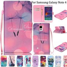 Lanyard Note 4 Wallet Covers PU Leather Cell Phone Case Cover For Samsung Galaxy Note 4 IV N9100 With Card Slots Phone Bags