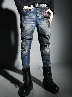 Blue Distressed Jeans Cotton Skinny Jeans for Men yılmaz