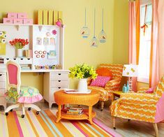 Cute and fun craft room.  I like the slipcovers - great way to add new colors and be kind to the budget.  Adore the desk chair remake.  And the wall unit. Been considering making a slipcover for a chair I have - this reminds me of the possibilities.