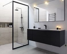 Bad – Stort utvalg av baderom i vakkert dansk design Black Tile Bathrooms, Dream Bathrooms, Modern Bathroom, Bad Inspiration, Bathroom Inspiration, Wardrobe Room, Bathroom Collections, Bathroom Trends, House Layouts