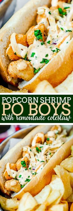 Popcorn Shrimp Po Boys Recipe with Remoulade Coleslaw - {Msg 4 21+} Easy dinner twist on classic New Orleans' sandwich recipe. Ready in 10 minutes with tons of flavor!   The Love Nerds via @lovenerdmaggie
