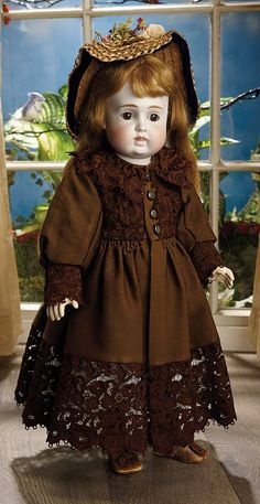 Sanctuary: A Marquis Cataloged Auction of Antique Dolls - March 19, 2016: 111 German Bisque Closed Mouth Child by Kestner as Look-Alike Circle/Dot Bru Bebe